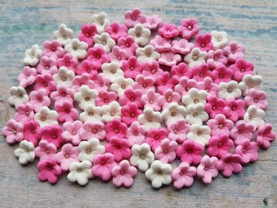 100 edible sugar gum paste fondant flowers cake cupcake topper decorations pink