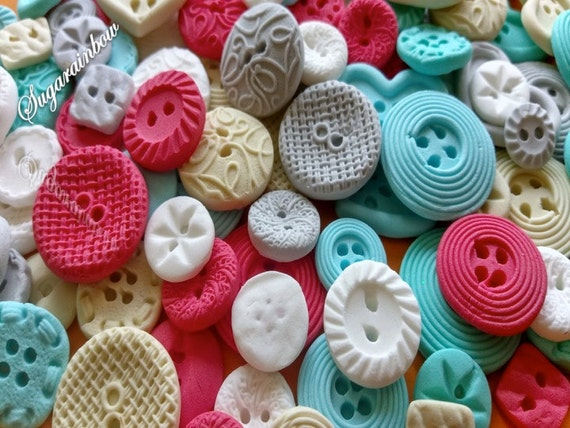 100 Edible sugar buttons decorations for cake cupcake toppers Mix of:  coral blue turquoise white chocolate silver