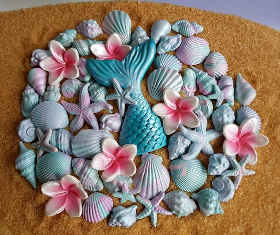 57 Edible sugar fondant shells starfish corals mermaid tail plumeria cake cupcake topper decorations pink purple teal pastel