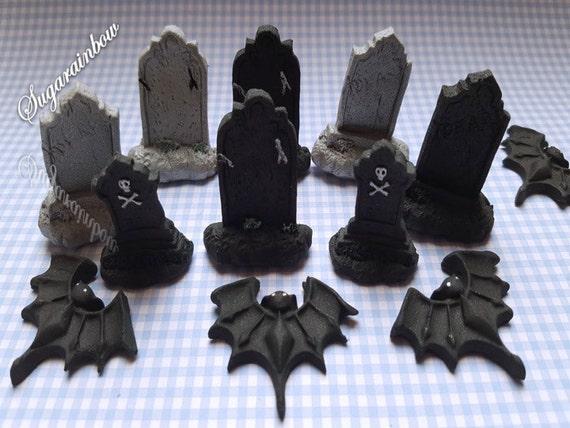 12 Edible halloween cupcake cake decorations toppers bats tombs