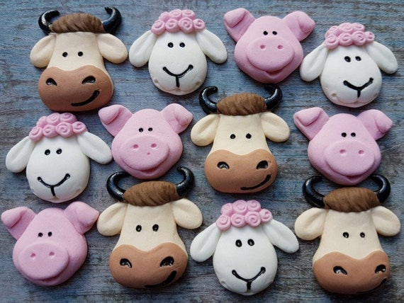 12 Edible sugar cow sheep pig kids birthday party cake decorations toppers