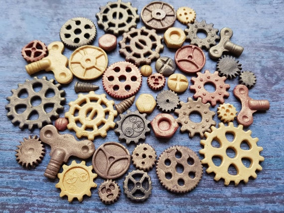 40 edible sugar paste steam punk cogs gears cake cupcake toppers decorations