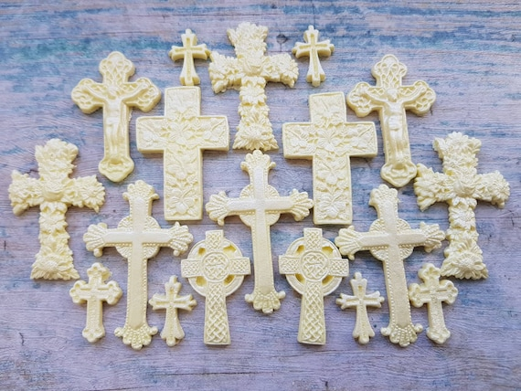 21 Edible sugar fondant crosses baby christening communion cake toppers decorations champagne