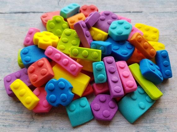 50 Edible sugar paste fondant building bricks blocks cake cupcake toppers decorations kids party