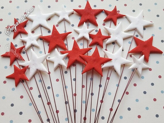 20 Edible sugar stars on wires wired cake decorations cupcake toppers RED/WHITE (red wires)