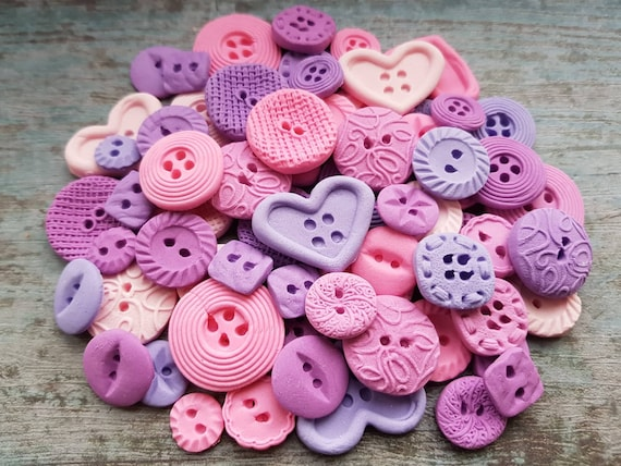 60 Edible sugar paste fondant buttons cake cupcake topper decorations pinks purples