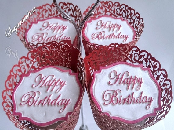 4 Edible sugar plaque happy birthday cake cupcake toppers decorations