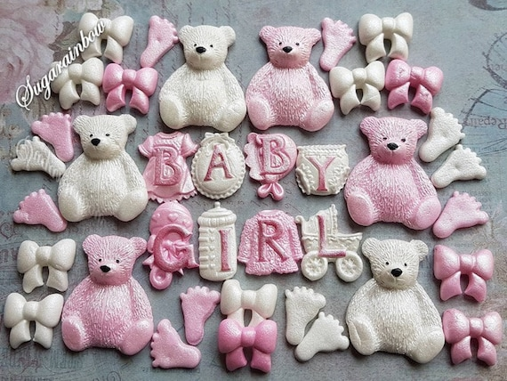 Edible sugar decorations baby shower christening nursery cake cupcake toppers AIRBRUSHED Pink/White Baby girl teddy bears foots bows