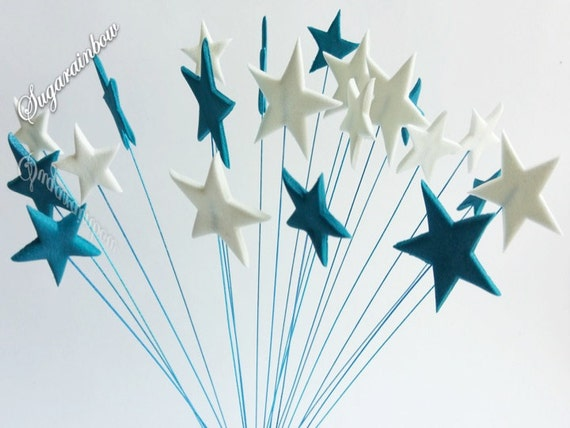 20 Edible sugar stars on wires wired cake decorations cupcake toppers Royal Blue/White