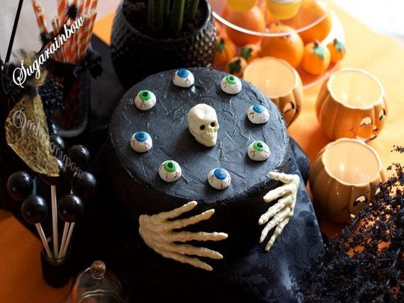 Edible sugar Halloween cake decorations skeleton hands skull (3D) eyes cake cupcake toppers decorations
