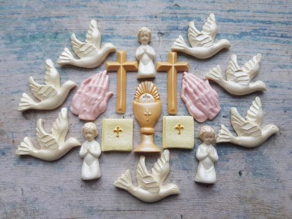 16 Edible Sugar Christening Communion Cross Dove Bible cake topper AIRBRUSHED