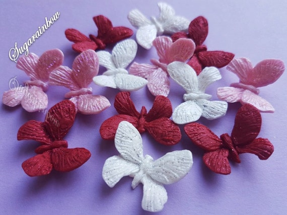 12 Edible sugar butterflies decorations  for cake cupcake toppers PINK/RED/WHITE