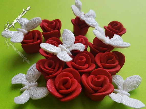 18 Edible Sugar Glossy Roses Butterflies Decorations cake cupcake toppers