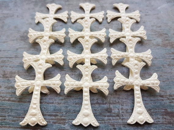 Edible sugar cross, fondant cross, white sugar cross, baby shower topper,  confirmation cake topper, cross for cupcake. SET of 12 pieces