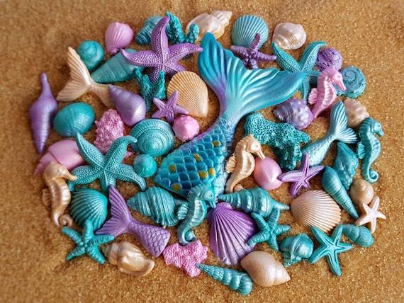 54 Edible sugar fondant shells starfish seahorse corals mermaid tail cake cupcake topper decorations pink purple teal