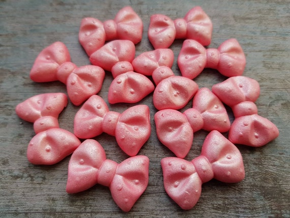 12 Edible sugar paste fondant pink ribbons bows cake cupcake cake pops topper decorations