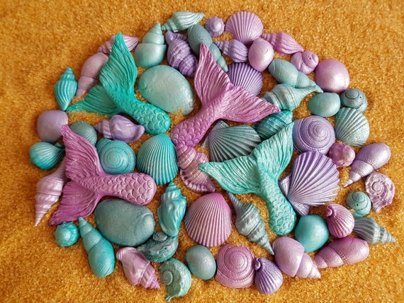 59 Edible sugar paste fondant cake decorations shells mermaid tail cupcake topper beach wedding party mermaid cake teal purple