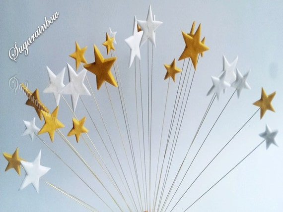 24 Edible sugar stars on wires cake cupcake toppers