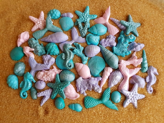 51 Edible sugar paste fondant cake decorations shells seahorse starfishes corals mermaid tail cake cupcake topper pink teal purple