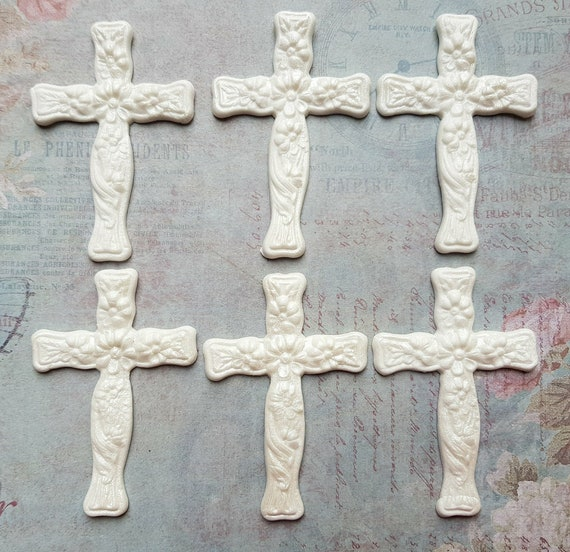 6 Edible sugar large crosses communion cake toppers decorations white airbrushed pearl