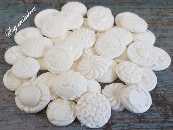 40 Edible sugar paste fondant buttons cake cupcake toppers decorations white with pearl shimmer