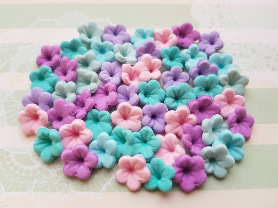 50 edible sugar fondant flowers unicorn rainbow colours cake cupcake toppers