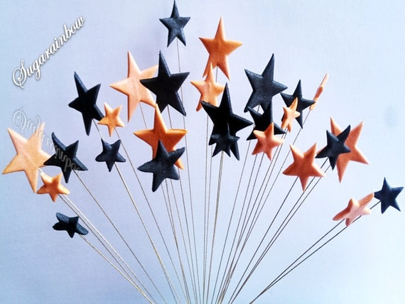 24 Edible sugar stars on wires wired cake cupcake toppers decorations Orange/Black