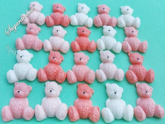 20 Edible sugar AIRBRUSHED baby shower decorations teddy bears cake toppers Peach/White/Light peach