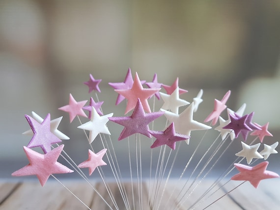 24 Edible sugar paste fondant stars on wires wired cake decorations cupcake toppers