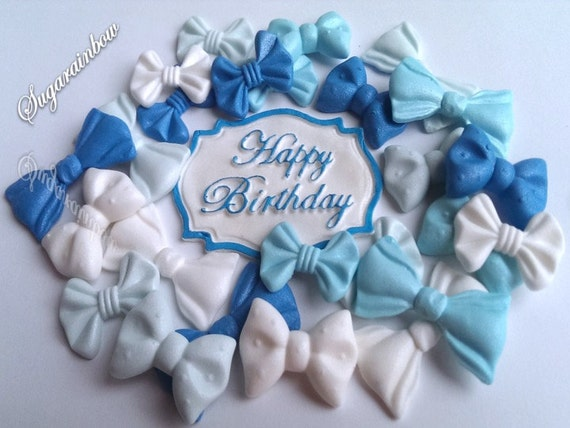 24 Edible sugar ribbons bows cake cupcake toppers happy birthday plaque