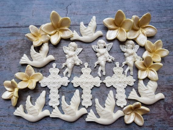 Edible sugar paste doves crosses flowers angels cake cupcake toppers decorations
