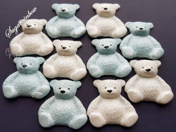 10 Edible sugar teddy bears christening baby shower birthday party decorations cake cupcake toppers blue/white (Pearl AIRBRUSHED)