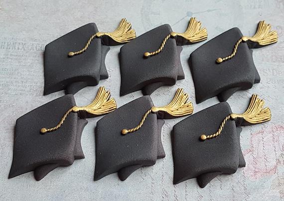 6 Edible sugar paste fondant graduation hats cake cupcake toppers decorations