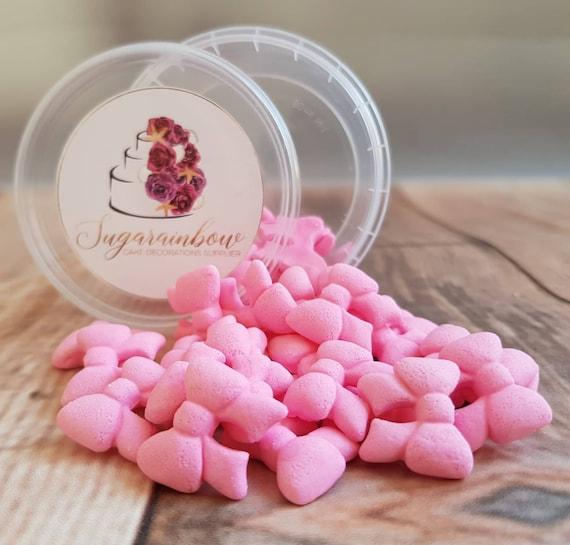 30 Edible sugar paste fondant tiny ribbons bows cake cupcake toppers decorations pink
