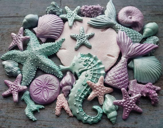 Edible sugar paste fondant shells starfish (large) seahorse mermaid tail corals cake toppers decorations