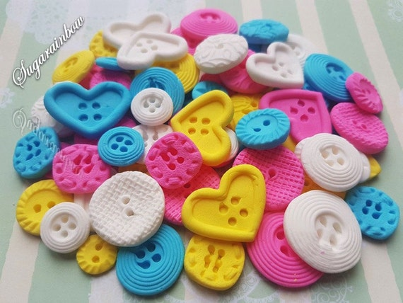 60 Edible sugar paste buttons cake cupcake toppers decorations Hot pink/Blue/White/Yellow