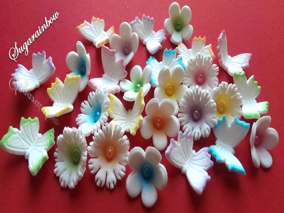 24 edible sugar flowers butterflies cake cupcake toppers decorations AIRBRUSHED