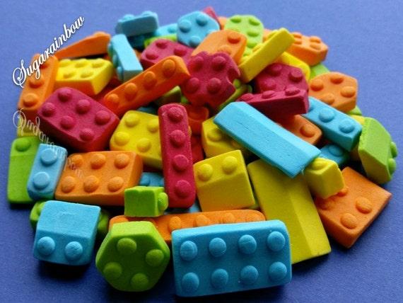 50 Edible sugar building bricks blocks cake cupcake toppers decorations kids party Yellow/Blue/Green/Orange/Red