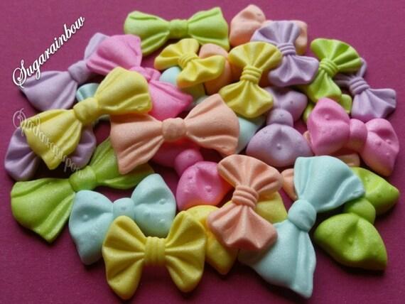 24 Edible sugar ribbons bows cake cupcake toppers decorations