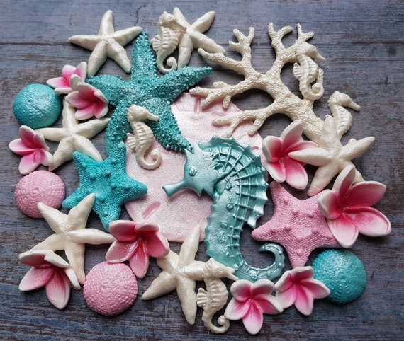 Edible fondant sugar LARGE sand dollar starfish plumeria  corals beach party cake cupcake decorations toppers