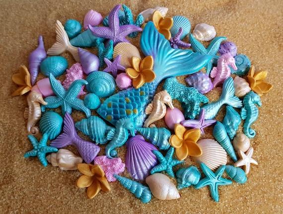 60 Edible sugar fondant shells starfish seahorse corals mermaid tail plumeria cake cupcake topper decorations pink purple teal gold