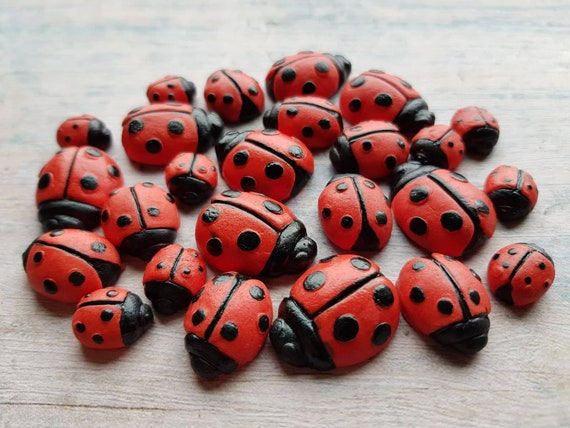24 Edible sugar fondant gum paste ladybird ladybugs cake topper decorations