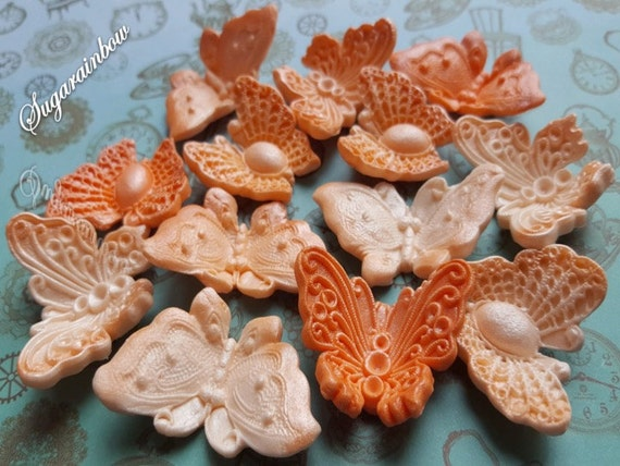 12 Edible Airbrushed sugar butterflies decorations  for cake cupcake toppers with pearl shimmer PEACH shades