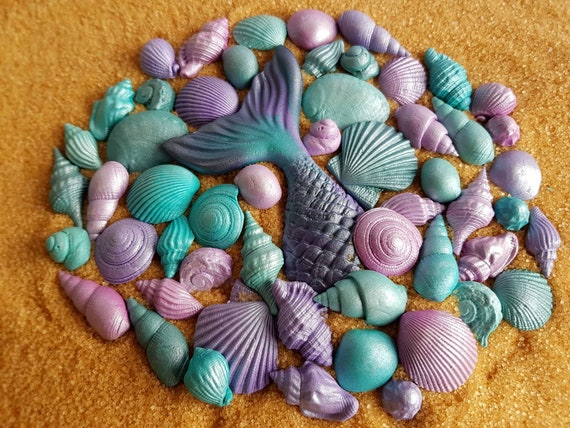 56 Edible sugar paste fondant cake decorations shells mermaid tail cupcake topper beach wedding party mermaid cake teal purple