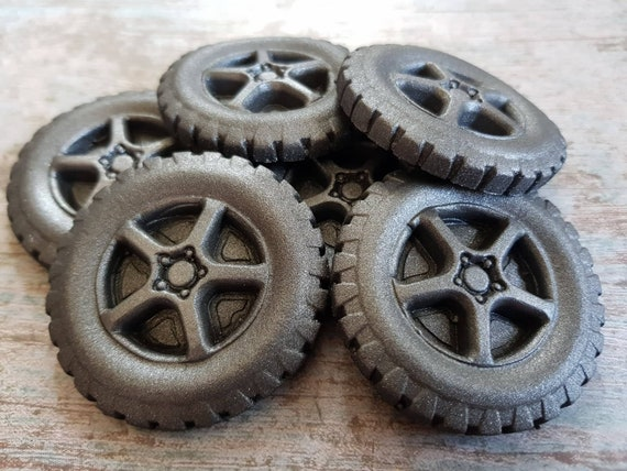 6 edible large sugar fondant tires wheels cake cupcake toppers decorations men birthday party