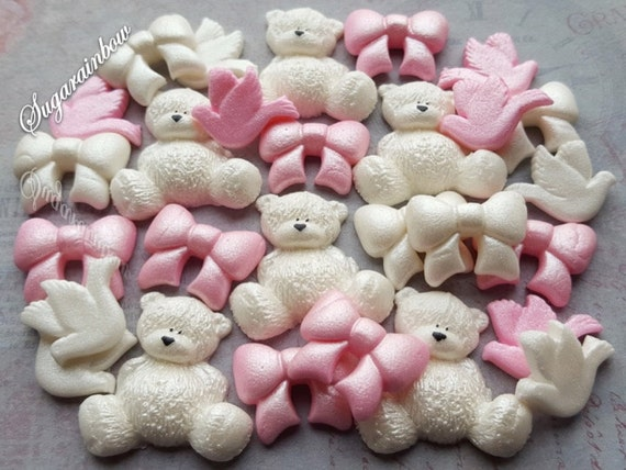 30 Edible sugar decorations baby shower christening teddy bears bows doves cake cupcake toppers