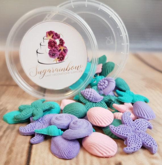 50 Edible sugar fondant tiny  cake decorations shells starfishes cake cupcake toppers