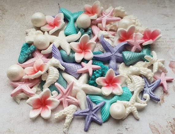40 Edible sugar cake decorations shells frangipani plumeria corals pearls mermaid tails cake cupcake toppers