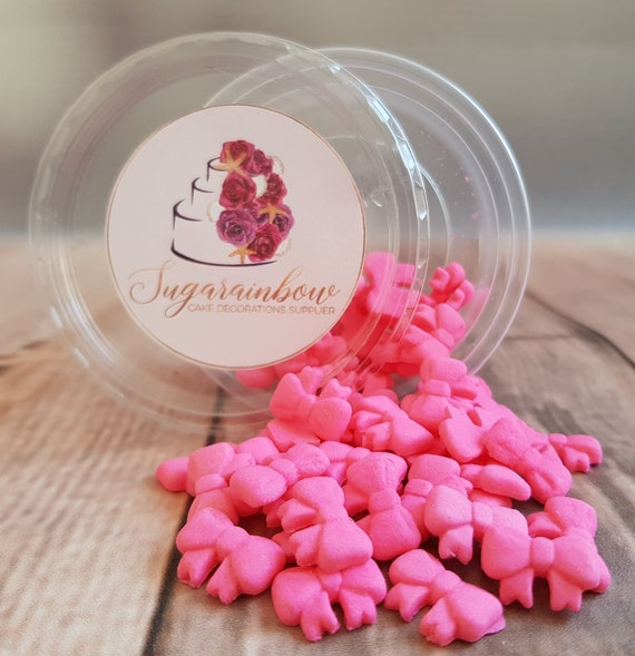 50 Edible sugar paste fondant tiny ribbons bows cake cupcake cake pops toppers decorations pink