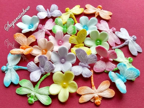 18 edible sugar flowers butterflies dragonfles cake topper AIRBRUSHED